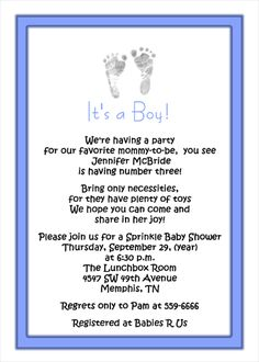 Sprinkle Baby Shower Invitations - obviously we would make this cuter but the wording is good maybe?