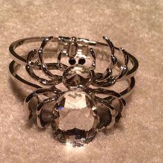 Silver Tone & Rhinestone Spider Bracelet