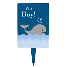 Blue Gray Whale Cake Topper