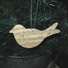 Vintage Music Paper Wooden Bird Ornament by repurposedantiques