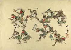 Frogs running with lanterns and food. Kawanabe Kyosai.