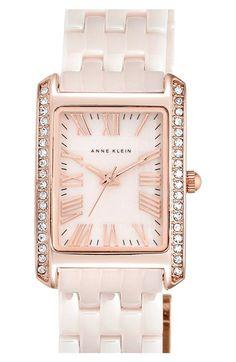 Anne Klein Rectangular Ceramic Bracelet Watch, 23 x 33mm available at #Nordstrom