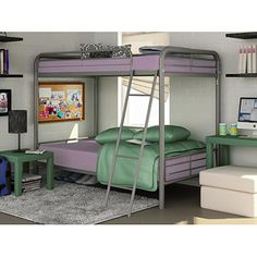 Twin Over Twin Metal Bunk Bed, Silver