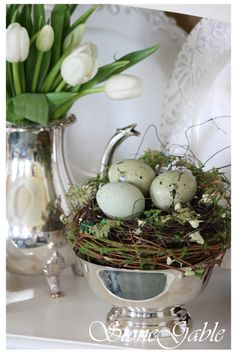 Sterling & White Stoneware-perfect setting to add some white tulips and Easter Decor - Easter time / Spring time Real pretty decor for Easter and spring! Easter Flower Arrangements, Easter Flowers, Easter Colors, Easter Dinner, Easter Table, Easter Brunch, Hoppy Easter, Easter Eggs, Easter Candy