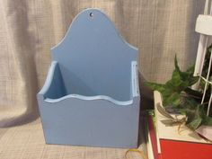 Lovel, Mail Organizer, Wall Recipe Box, Wall Mount Decor, Wooden, Light Pastel Blue, Distressed, Cottage Chic, French Country, Beach Cottage by ClassicMontage on Etsy