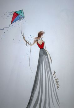 A walk with kite #sketch #sketches #illustrations #fashionillustrations #fashion