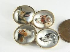 Antique English 9K Gold Essex Crystal Pearl Hunting Dog Cufflinks c1920's Boxed