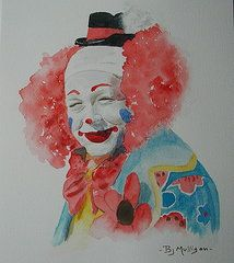 Clowns Paintings - Everybody Loves a Clown by Betty Mulligan