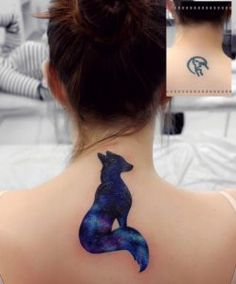 Cosmic fox tattoo by Anna Yershova