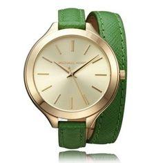 Dámske hodinky Michael Kors MK2287 Wrap Around, Green Leather, Stainless Steel Case, Wood Watch, Fashion Watches, Michael Kors Watch, Eyewear, Watches For Men, Quartz