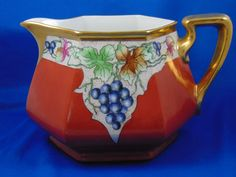 Bernardaud & Co. (B&Co.) Limoges Grape Motif Lemonade/Cider Pitcher (Signed/Dated 1932)