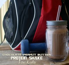 Chocolate Peanut Butter Protein Shake- For Kids! Recipe Beverages with milk, soft tofu, peanut butter, chia seeds, cocoa, honey