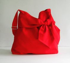 Sale - Red Cotton Twill Bag, diaper bag, messenger, tote, bow, adjustable strap - Ninny on Etsy, $39.00