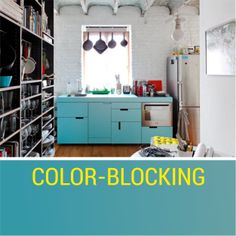 Tip: try and keep it simple, all cabinets in one line and with color blocking approach #kitchens #design #kitchendesign  source: http://www.onekindesign.com/2013/09/27/43-extremely-creative-small-kitchen-design-ideas/