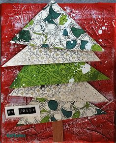 Tutorial from Nat Kalbach for simple but charming small Xmas canvas.