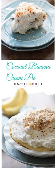 A thick coconut banana cream pie with lots of shredded coconut, roasted bananas, fresh whipped cream and nutty toasted coconut for garnish.