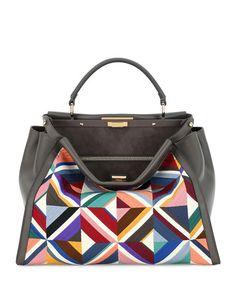 Large Quilted Geometric Peekaboo Satchel Bag, Gray