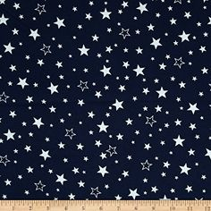 Kaufman Cozy Cotton Flannel Stars Navy Fabric By The Yard...