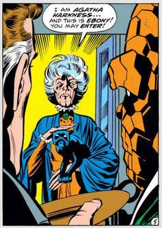 Agatha Harkness, fantastic four, f4, ebony, cat, marvel comics