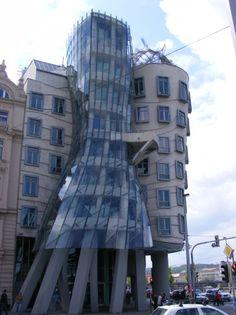 the dancing building in Prague.  Amazing restaurant upstairs, Pearl de Prague! via La Morgan