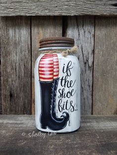 Halloween Mason Jar-Painted Mason Jar-If the shoe fits-Witch – Crafts - business ideas for women diy Mason Jar Art, Mason Jar Candles, Mason Jar Crafts, Fall Crafts, Halloween Crafts, Christmas Crafts, Homemade Halloween, Diy Crafts, Halloween Mason Jars