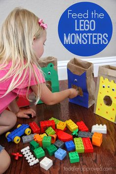 the LEGO Monsters: A Sorting and Building Game for Kids Toddler Approved!: Feed the LEGO Monsters: A Sorting and Building Game for KidsToddler Approved!: Feed the LEGO Monsters: A Sorting and Building Game for Kids Toddler Fun, Toddler Learning, Toddler Preschool, Toddler Activities, Learning Games For Preschoolers, Toddler Games, Kids Fun, Fun Learning, Monster Activities