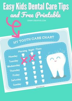 Are you fighting the daily struggle to get the kids to brush their teeth? Try these Easy Kids Dental Care Tips and Free Printable Tooth Care Chart! Teeth Health, Dental Health, Oral Health, Lunchbox Notes For Kids, Dental Care For Kids, Tooth Decay In Children, Bookmarks Kids, Pediatric Dentist, Fun Songs
