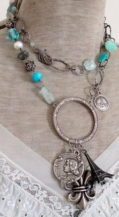 'cote d'azur' assemblage double-wrap necklace with Joan of Arc, fleur de lis and Eiffel Tower pendants by The French Circus on Etsy