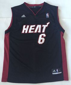 Miami Heat Lebron James #6 Adidas Jersey NBA Tank Top L Shirt Black Red #adidas…