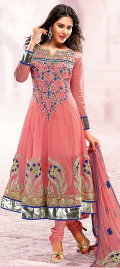407637, Anarkali Suits, Net, Floral, Patch, Lace, Resham, Red and Maroon Color Family