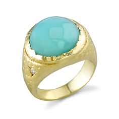 Stardrop Peruvian opal 18K yellow gold ring by Denise James.
