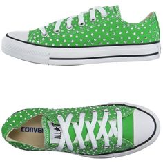 Converse Limited Edition Low-tops & Trainers ($135) ❤ liked on Polyvore featuring shoes, sneakers, tennis shoes, green, flat sneakers, round cap, green rhinestone shoes, green sneakers and low profile shoes