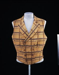 Man's waistcoat (vest) 1860 -1870.  Silk and wool fabric.  Double breasted…