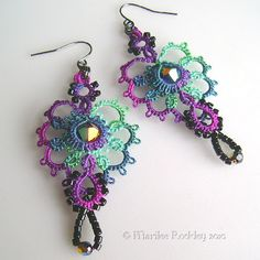 Yarnplayer's Tatting Blog: Stardate 1002.06 - experiments -- Earrings tatted with hand dyed thread and beads #tatting #jewelry