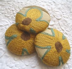 Gold/ivory/brown/turquoise mix- 3 crewel embroidered fabric covered buttons -  1 7/8 inches  -  only one set available on Etsy, $14.69 AUD