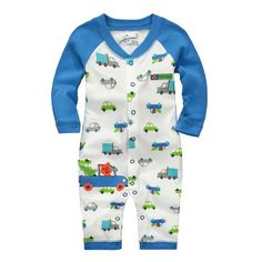 Jumping beans cotton kids baby boy long sleeve rompers jumpsuits autumn/winter cartoon trucks coverall