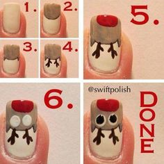 Rudolph the Reindeer Nail Art Tutorial nails diy reindeer nail art christmas tutorials christmas ideas christmas nails rudolph nail tutorials Christmas Nail Polish, Xmas Nail Art, Christmas Nail Art Designs, Holiday Nail Art, Xmas Nails, Winter Nail Art, Cool Nail Art, Winter Nails, Easy Christmas Nail Art