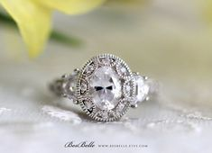 Etsy Art Deco Engagement Ring-Oval Cut Diamond Simulant-Vintage Ring-2.25 ctw Art Deco Ring-Half Moon Stone #affiliatelink