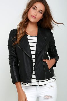 From lace dresses to studded shorts, we can't think of anything that doesn't go perfectly with the BB Dakota Rylan Black Vegan Leather Jacket! Soft vegan leather with angular top stitching forms this sleek, collarless moto jacket with gunmetal zipper cuffs, front pockets and asymmetrical front zipper. Fully lined. Self: 100% Polyurethane. Backing: 100% Viscose. Lining: 100% Polyester. Wipe Clean Only.
