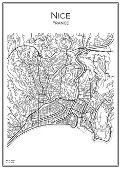 Nice France Map, Plan Wallpaper, City Map Poster, Paris Map, Black And White Aesthetic, Line Illustration, Vintage Maps, City Maps, Map Design