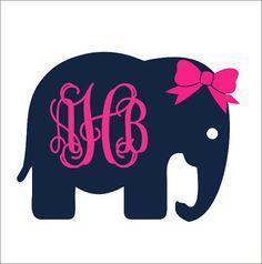 Elephant Monogram with Bow Car Decal Car by CustomVinylbyBridge, $11.00