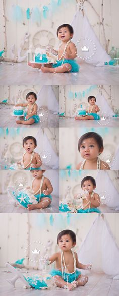 O's Whimsical Ocean First Birthday Cakesmash One Year Birthday, 1st Birthday Photos, Girl First Birthday, Baby Birthday, Baby Cake Smash, Baby Girl Cakes, One Year Old Baby, First Year Photos, Baby Girl Pictures
