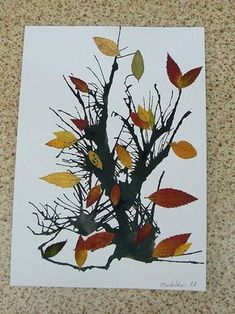Arts And Crafts Cabinet Fall Arts And Crafts, Autumn Crafts, Fall Crafts For Kids, Autumn Art, Nature Crafts, Autumn Theme, Art Lessons For Kids, Art Activities For Kids, Art For Kids