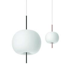 Suspension en verre opalin et tige en cuivre ou laiton // design italien Kundalini