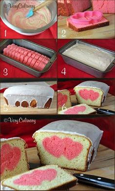 Peekaboo Heart Poundcake    If you like the idea of the heart cake, but want something a little less formal, a poundcake is just as impressive! The technique behind it is completely different, using a heart shaped cookie cutter to get your surprise heart design.