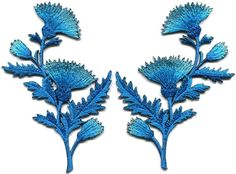 Blue carnation spray thistle pair flowers floral applique iron-on patches S-755…