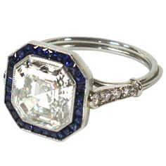 Art Deco Asscher Cut Diamond and Sapphire Engagement Ring French-1920s