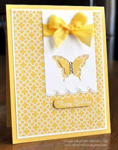 handmade card from Card Creations by Beth ... sunny yellow and white ... like the tag with negative space butterfly and a smaller butterfly punch inside ... like the aysmetrical design ...  Stampin' Up!