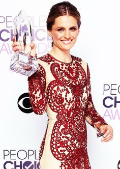 Stana Katic with her People's Choice Award for Favorite Dramatic TV Actress on January 8, 2014.