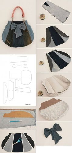 DIY Old jeans fashion bag heart shaped fashion bags daily used handbag for women 2013 fashion diy bag for outgoings #fashion #diy #bag